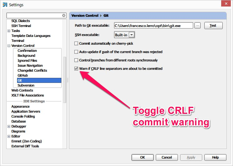 Option about EOL commit warning
